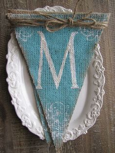 MERRY....Rustic Style Painted Burlap Banner...AQUA by funkyshique