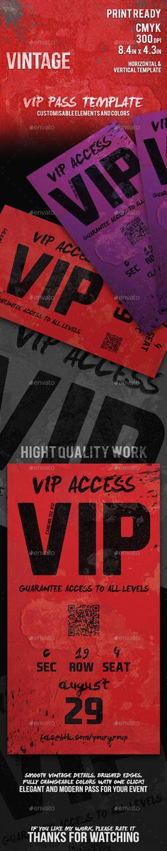 Vintage - Elegant Vip Pass Template - Cards & Invites Print Templates Download here: https://graphicriver.net/item/vintage-elegant-vip-pass-template/11718188?ref=alena994