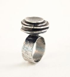 "Liisa Vitali for Nils Westerback (FI), vintage modernist silver raw "" ring, See a more polished version of this piece here. Jewelry Rings, Silver Jewelry, Silver Rings, Modern Jewelry, Vintage Jewelry, Love Ring, Schmuck Design, Unique Rings, Statement Rings"