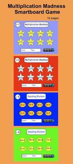 Multiplication Madness, interactive smartboard drills with timer. Multiplication Games, Math Games, Math Activities, Fun Math, Maths, Teaching Math, Teaching Ideas, Smart Board Lessons, Smart Boards