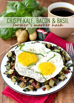 Put your fresh, Farmer's Market finds to good use in Crispy Kale, Bacon and Basil Farmer's Market Hash. Fresh, filling, and so satisfying! | iowagirleats.com