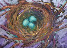 Bird Nest Robin's Eggs 5x7 Original Pastel by Karen Margulis  Etsy sale 20% off enter SUMMERSALE