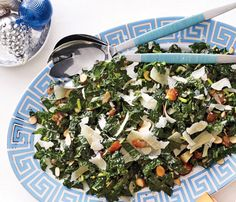 Kale Salad with Dates, Parmesan and Almonds. Balance the meal with a savory salad. Dress kale a day ahead; toss at the table. #Thanksgiving
