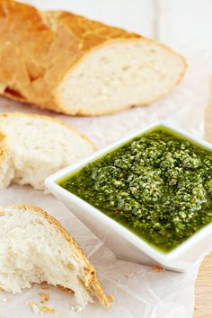 A simple pesto recipe with fresh basil, garlic, toasted pine nuts, Parmesan cheese and olive oil.