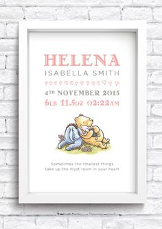 Personalised Winnie the Pooh Birth Details A4 Digital File Download Keepsake. New Baby Print. Nursery Artwork. Word Art. by MuckyPupDesign on Etsy https://www.etsy.com/listing/465136704/personalised-winnie-the-pooh-birth