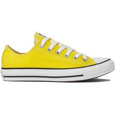 Converse Chuck Taylor All Star Classic Low Top Ox Sneakers - Citrus ($50) ❤ liked on Polyvore featuring shoes, sneakers, citrus, round toe sneakers, star shoes, laced sneakers, oxford shoes and star sneakers
