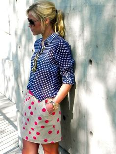 Chambray button down and pink polka dot skirt. LOVE it!