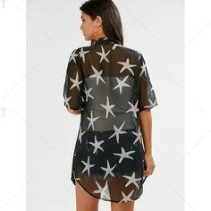 Recepción abierta Allover gasa Kimono En Negro | Twinkledeals.com