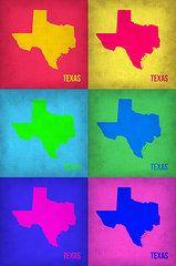 Texas Art - Texas Pop Art Map 1 by Irina  March