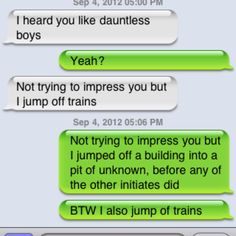 """Divergent version of """"I heard you like bad boys"""" texts"""