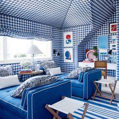 Coastal Living Idea House 2017, Mark D. Sikes, Blue and White Bedroom
