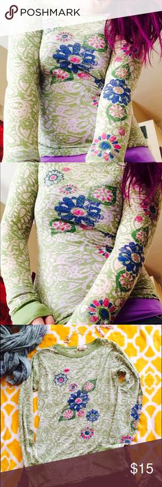 🍃🌼 Beautiful Spring paisley/floral top🌼🌿🍃 Gorgeous print. Green paisley/ Semi-sheer (I always wear a bikini top or tank underneath) Distress flower print on front and down left sleeve. %51 cotton %49 polyester. So freakin pretty,  awesome,  comfortable. love rocks Tops Tees - Long Sleeve