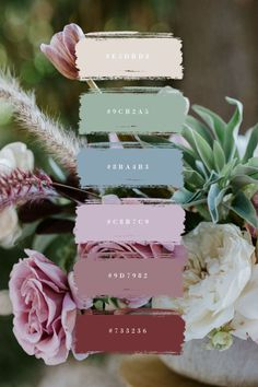 Los Angeles Wedding Florist #dustyrosewedding A floral color palette with mint and red.