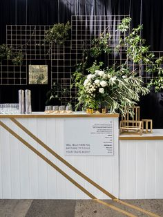 This modern bar set up is on point. This modern bar set up is on point. Pop Up Bar, Bar Set Up, Wedding Reception Backdrop, Wedding Signage, Modern Wedding Reception, Reception Ideas, Bar At Wedding, Black Wedding Decor, Bali Wedding