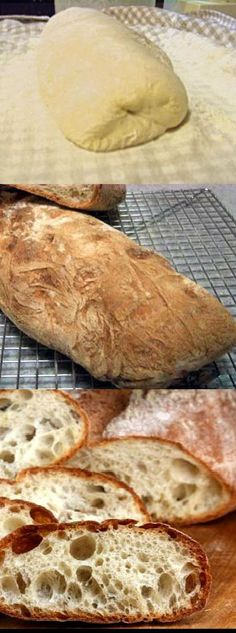 Perfect No-Knead Ciabatta Bread recipe.  You barely even touch the dough. There is no better bread for sauce dunking.