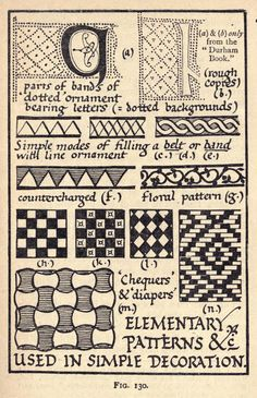 Elementary patterns &c used in simple decoration, Design in Illumination | Writing & illuminating, & lettering (1917), Edward Johnston