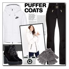 """Puffer"" by polybaby ❤ liked on Polyvore featuring NIKE, Blue Vanilla, Stuart Weitzman, Holga, Toni Sailer, Steve Madden and puffercoats"