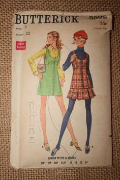 I'm pretty sure I made this exact pattern in the early 70's! I made the jumper on the left in grey flannel, and it was my favorite of all the clothes I ever made. {Vintage Butterick Pattern via Etsy}