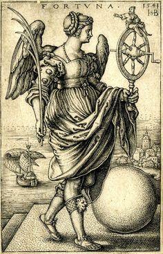 La Fortuna. Mujer alada que sostiene una hoja de palma con su mano derecha y una rueda de la fortuna, sobre la que se sienta un hombre, con su mano izquierda. Una esfera aparece a su lado, y al fondo un paisaje con un barco. Sebald Beham (Alemania, 1541) British Library