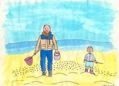 Illustratie; op het strand. Gemaakt door Jiska Clevering-Hartsuiker. Materiaal: fineliners en ecoline. Sterrig verzorgt illustratieworkshops.