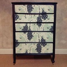 Farrow and Ball wisteria papered dresser