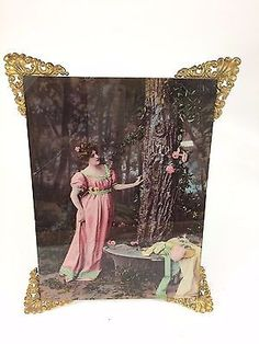 Antique Ullman Victorian 1899 Landscape Color Reverse Glass Print