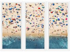 TROWBRIDGE - Aerial Summer Beach - This lively aerial photograph of a busy beach scene provokes memories of sun-filled lazy days. The vast array of visitors generates a welcome burst of colour to the sand that continues down into the water at the bottom of the frame. The view from above is an alternative to the traditional beach scene and keeps the viewers eye moving. </br></br>Photographer: Mike Raabe </br> in Piano White (Frame Code: 630)