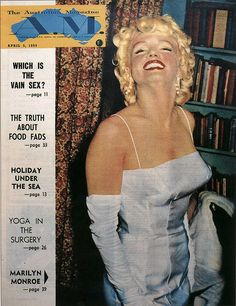 Marilyn Monroe on the cover of The Australian Magazine, Australia, April 5, 1955. Cover photo of Marilyn at a press conference announcing the formation of Marilyn Monroe Productions, January 7, 1955.
