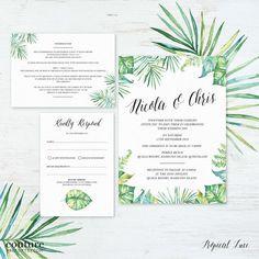 Printable Wedding Invitation Set Watercolour DIY by CouturePress