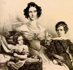 Ludovica of Bavaria, circa 1835, with their three children, the newly born Sissi, Helen and Louis-Guillaume.
