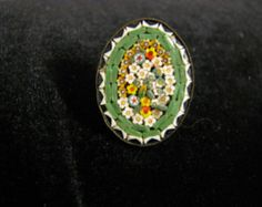 antique micro mosaic millefiori glass brooch ITALY