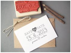 Using stamps (can save money) on save the date cards if you do it yourself!