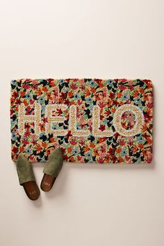 Floral Greeting Doormat by Anthropologie in Red, Decor Isle Of Man, Anthropologie Home, Anthropologie Christmas, Pillow Room, Welcome Mats, Garden Accessories, Outdoor Rugs, Outdoor Furniture, Outdoor Living