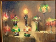 Plein Air Richmond June 2014 painting by artist Larry Moore of the VMFA Tiffany lamps; Larry Moore on facebook at https://www.facebook.com/LarryMooreStudios