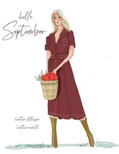 Hello September, Art Deco Posters, New Month, Cute Illustration, Cute Woman, Beautiful Artwork, Seasons, Lady, Design