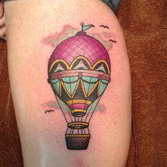 Hot Air Balloon Tattoo Thigh
