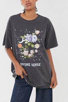 Shop Divine Sense Overdyed Oversized Tee at Urban Outfitters today. We carry all the latest styles, colors and brands for you to choose from right here. Urban Outfitters Graphic Tees, All Star, Stylish Outfits, Fashion Outfits, Hijab Fashion, Oversized Graphic Tee, Clothing Sites, Trendy Clothing, Tees For Women