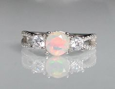 Opal with CZ Ring October Birthstone Ring Unique Ring by Belesas