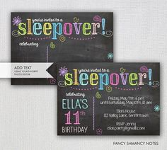 35 Favorite Things Party Invitation Template - Simple Template Design Favorite Things Party Invitation Template Awesome Sleepover Invitation Chalkboard Sleepover Party I Sleepover Party, Slumber Parties, Girl Sleepover, Happy Birthday Invitation Card, Sleepover Invitations, Invites, Favorite Things Party, Invitation Examples, Birthday Party Themes