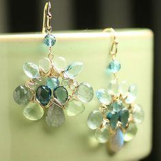 Statement Jewelry Wire Wrapped Earrings London Blue by fussjewelry