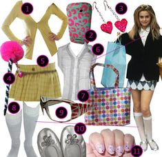 Cher from the movie Clueless had such a fun preppy Valley girl look that we coudn't resist going retro and DIYing her style:{% list 30624 %} Cher Clueless, Clueless Fashion, 90s Fashion, Clueless Style, Clueless Halloween Costume, Unique Halloween Costumes, Costume Ideas, Rachel Green, Grunge