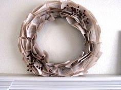 """22-Inch Christmas Wreath with Dickens' """"A Christmas Carol"""" Book Paper and Double Berry Accent. $46.00, via Etsy."""