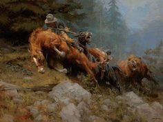 "Andy Thomas ""Grizzly Mountain"" print of grizzly bear attacking a cowboy and his pack horses Oil Painting Pictures, Pictures To Paint, Mosaic Pictures, Hunting Art, West Art, Art Japonais, Cowboy Art, Le Far West, Mountain Man"