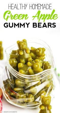 Healthy Homemade Green Apple Gummy Bears recipe - Healthy Dessert Recipes at Desserts with Benefits