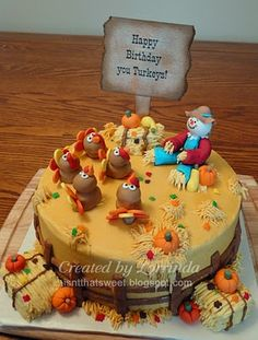 I may have to do a side cake for Paizleigh. Her birthday falls on thanksgiving this year. Sucks that we won't be up north with our family for thanksgiving and her birthday as planned. Thanksgiving Cakes, Thanksgiving Birthday, Thanksgiving Ideas, Pretty Cakes, Cute Cakes, Fall Birthday Cakes, Fall Cakes, Halloween Cakes, Holiday Cakes