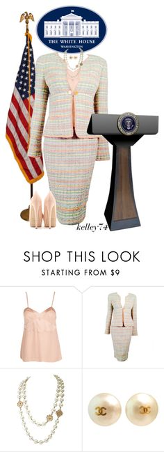"""""""CHANEL for THE WHITE HOUSE PRESS SECRETARY"""" by kelley74 ❤ liked on Polyvore featuring Araks, Chanel and Brian Atwood"""