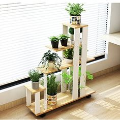 QiXian Shelves Organizer for Books Bookcase Bookshelf Ends Flower Stand Balcony Multi-Layer Floor-Standing Shelf Indoor Multifunction Flower Pot Shelf Plant Stand Strong Sturdy, Light Walnut House Plants Decor, Plant Decor, Wooden Plant Stands Indoor, Balcony Flowers, Decoration Plante, Diy Plant Stand, Flower Stands, Plant Shelves, Home And Deco