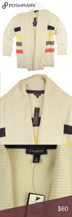 """New TALBOTS Beige Stripe Long Cardigan Sweater This new light beige stripe long cardigan sweater from TALBOTS features an open front style. Colors of the stripes are - olive, orange, yellow and midnight navy. Made of a wool blend. Measures: bust. 50"""", total length: 30"""", sleeves: 24"""" Talbots Sweaters Cardigans"""
