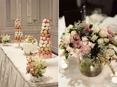 This macaron tower made by the bride and groom makes a beautiful table decoration. Via @polkadotbride