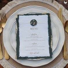 The pop of gold on the deep green handmade paper has us melting! Thin twin double wrapping the top with the textured wax seal brings all the magical elements together. Custom Stationery, Stationery Design, Custom Invitations, Wax Seals, Menu, Cake, Tableware, Wrapping, Twin